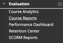 Evaluation Drop Down menu on the Blackboard Control Panel