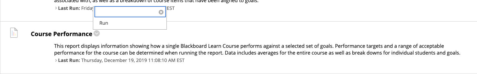 Drop down menu to Run a Course Performance Report