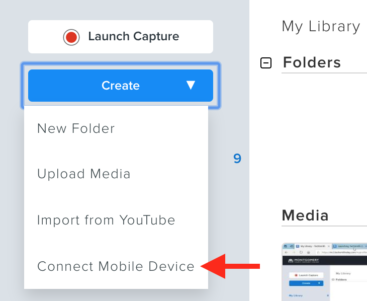 Create button with Connect Mobile Device selected.