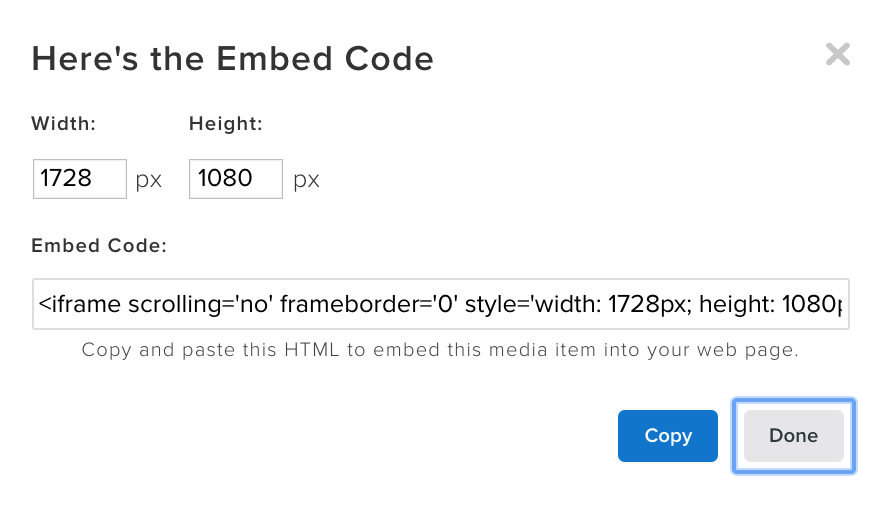 Embed Code window