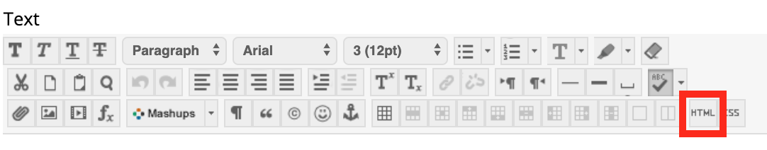Toolbar showing the HTML button.