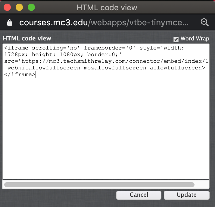 HTML window with embed code
