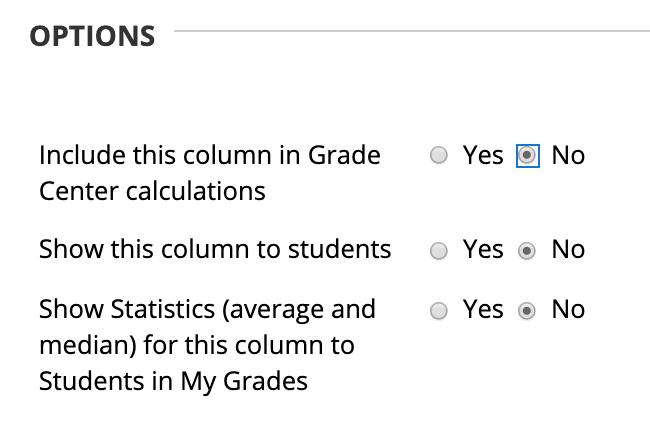 Grade Center column options