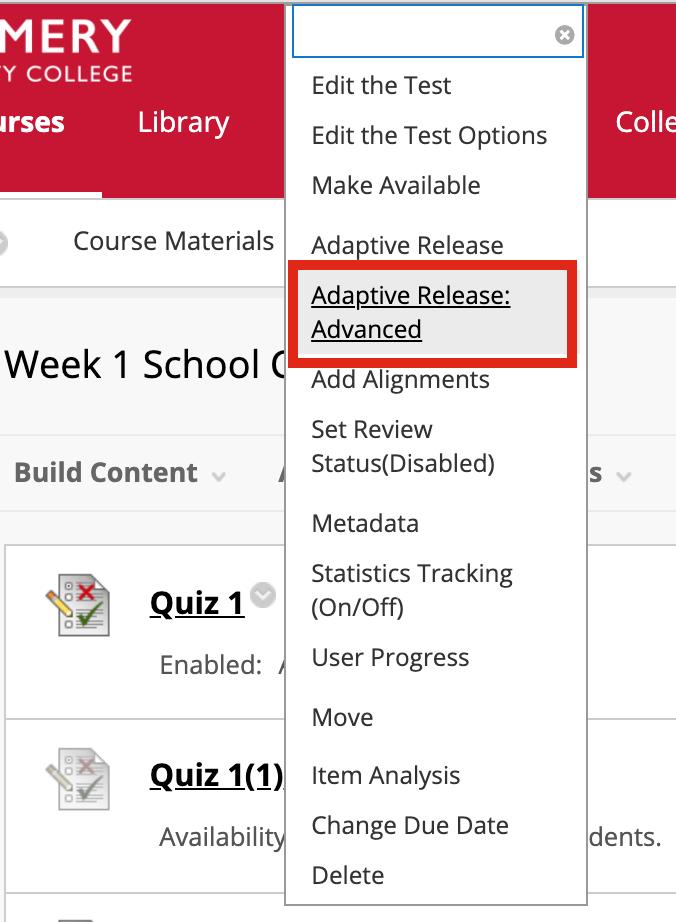 Adaptive Release Advanced option
