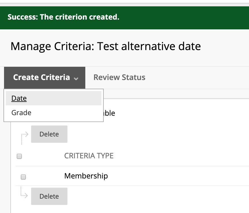 Date Criteria selection