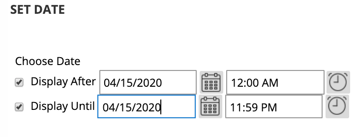 Date and time range visibility