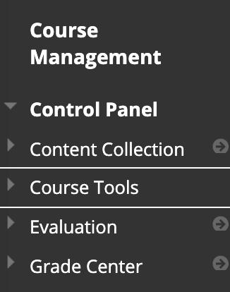 Course tools link under Course Management on Blackboard course menu