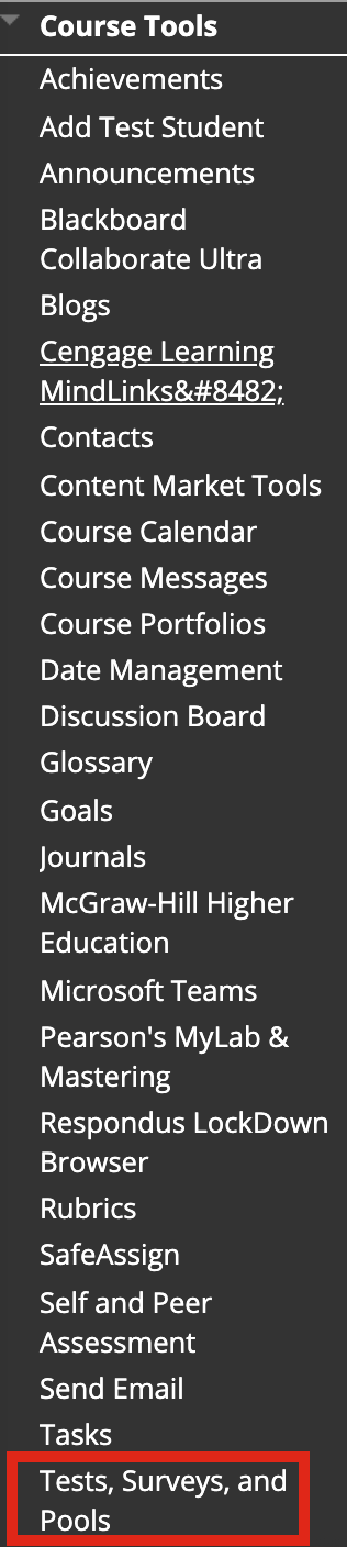 Course Tools options with a box around the Test, Surveys, and Pools option.