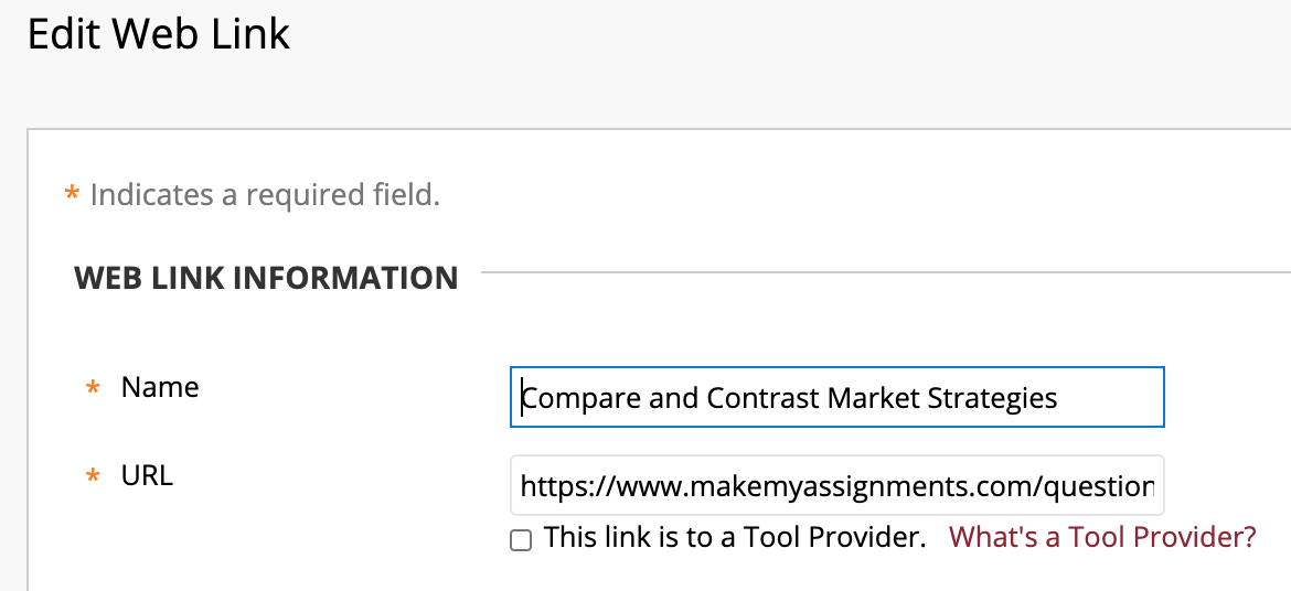 edit web link page with the name and url fields