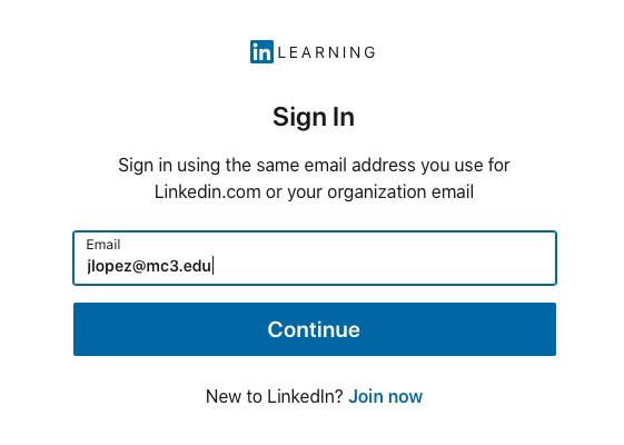 LinkedIn Learning login page email address field