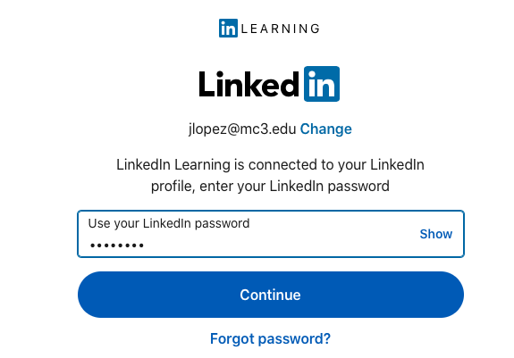 LinkedIn Learning login page with password field
