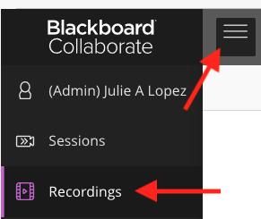 Blackboard Collaborate Ultra menu options