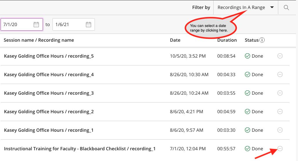 Blackboard collaborate ultra recordings list