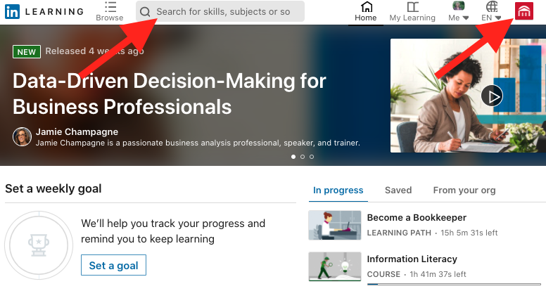 LinkedIn Learning home page