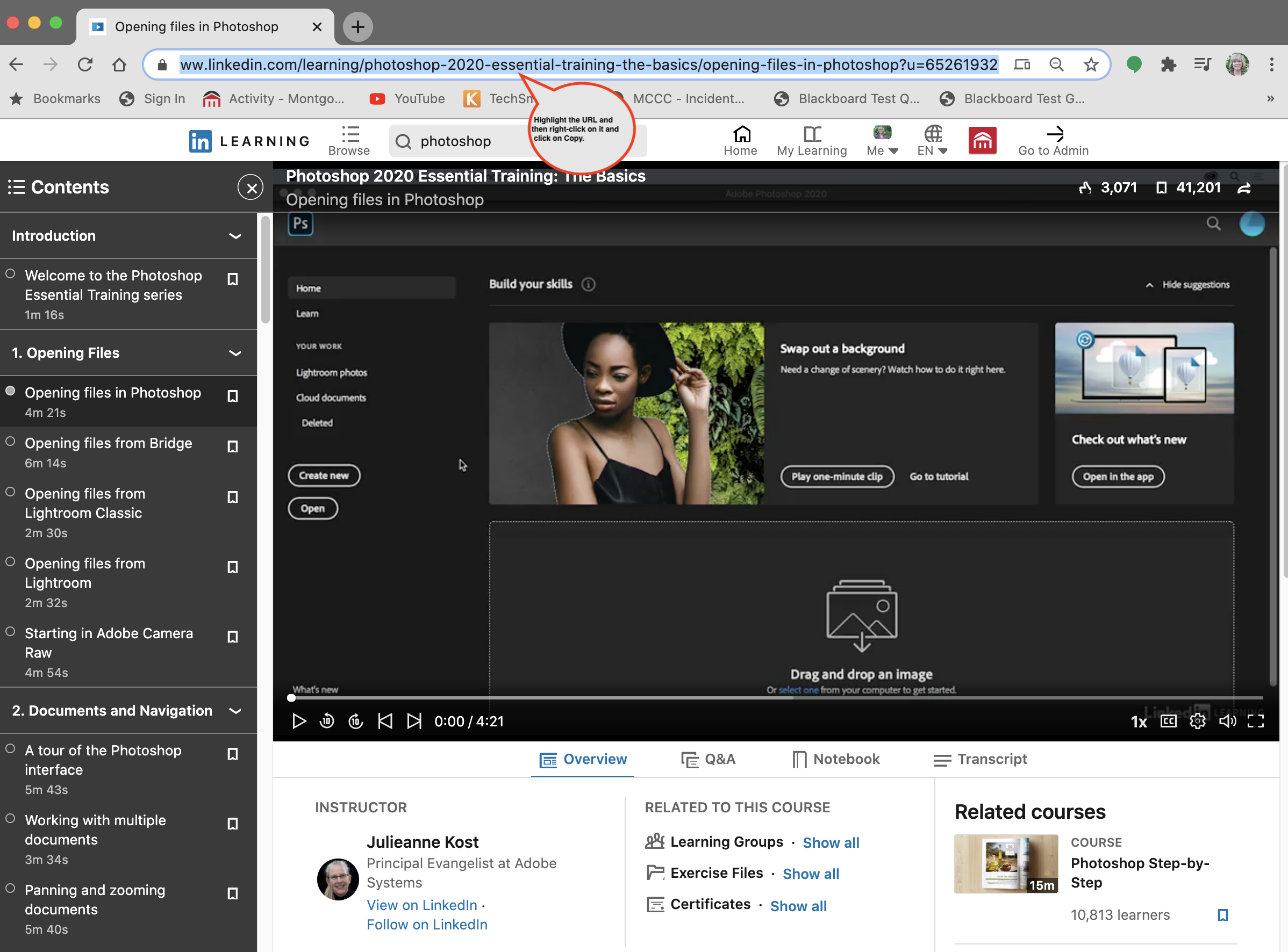 LinkedIn Learning video selection with the URL highlighted