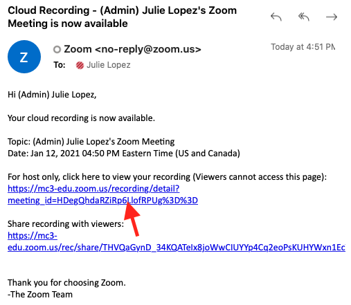 Email from Zoom with links to recordings.