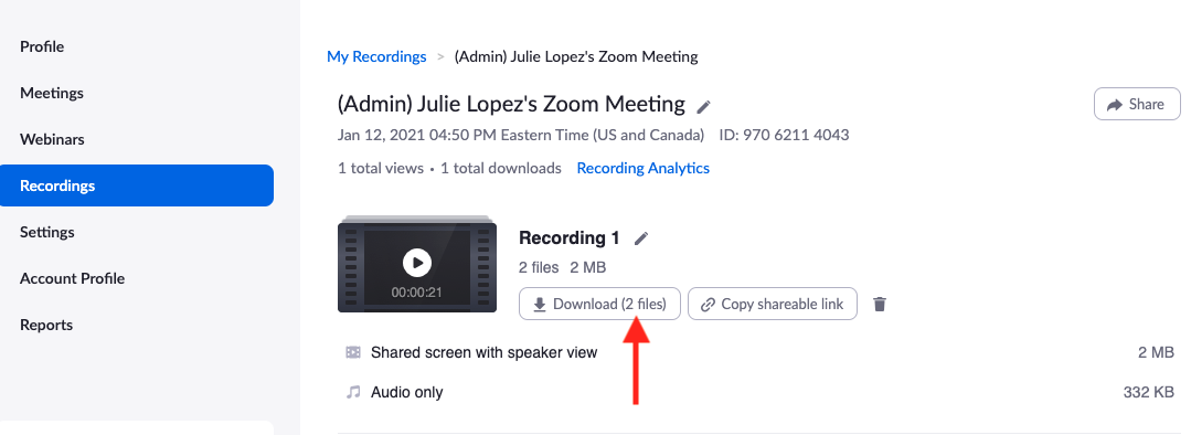 Zoom recordings screen