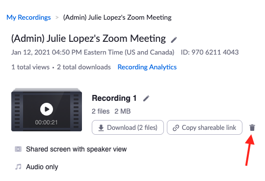 Zoom recording screen highlighting the trashcan