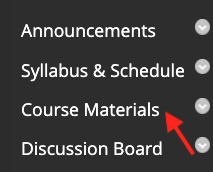Course menu with an arrow pointing at the Course Materials link