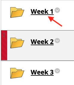Content area with course folders and an arrow pointing at the Week 1 folder