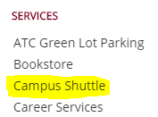 Screenshot with a yellow highlight over campus shuttle listing