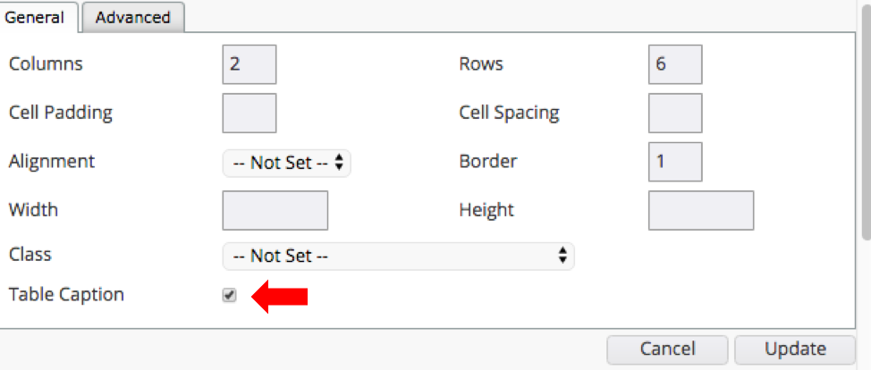 Table Caption checkbox - allows for a title at the top of the table