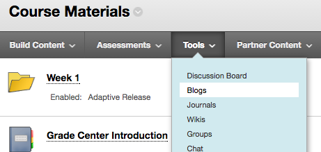 This is a screen shot of selecting Blogs from the Tools drop down menu.