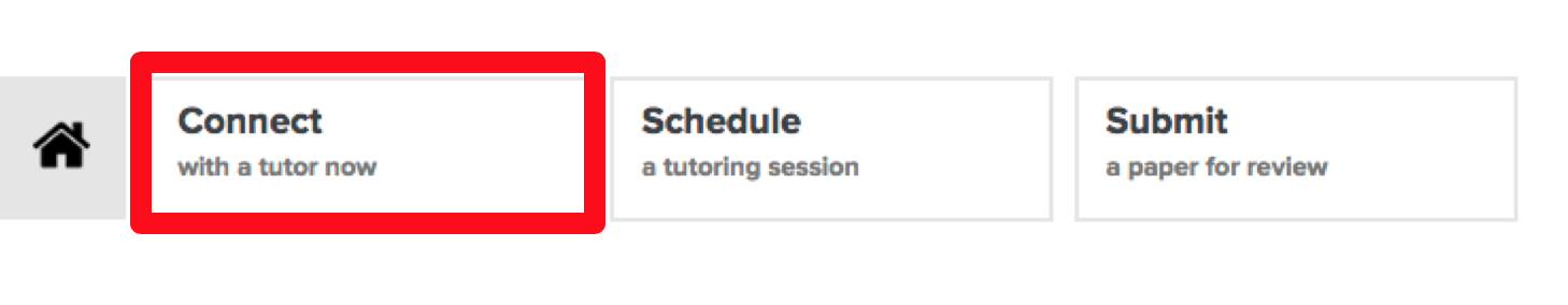 This is an image of the tutor.com options of Connect, Schedule, and Submit. The Connect option is called out with a red box around it.