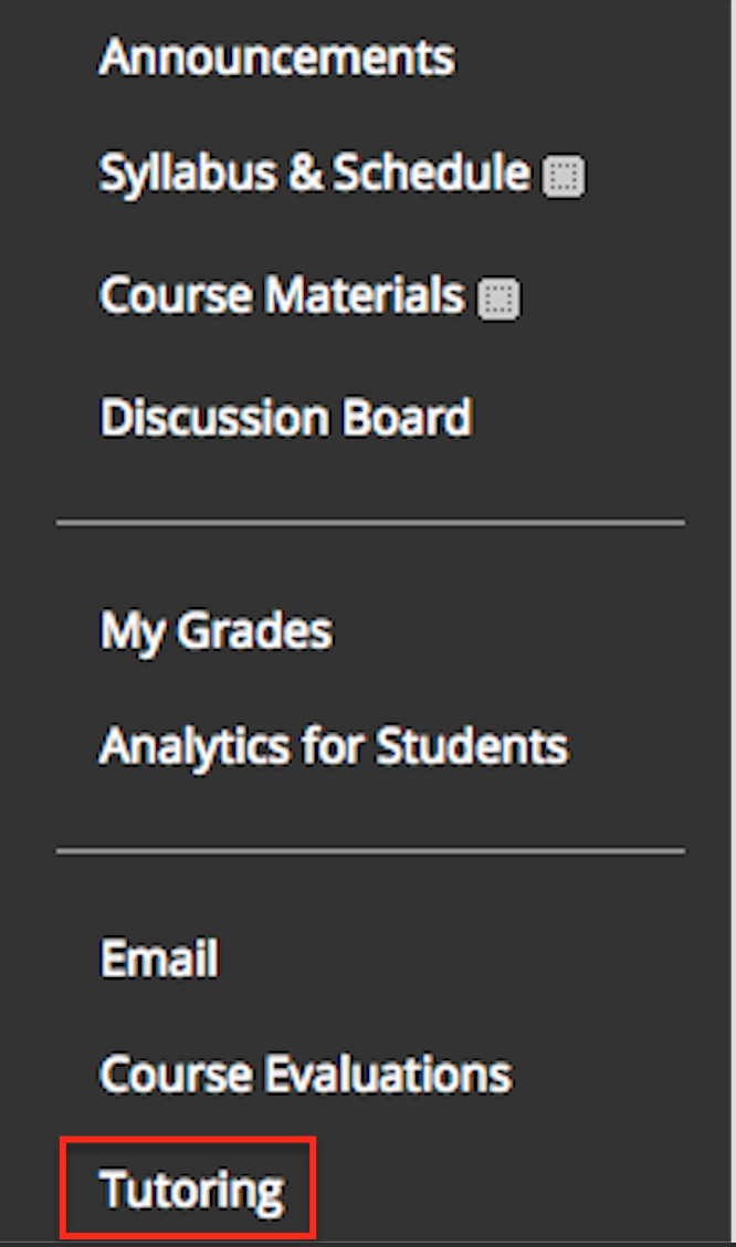 This is an image of a Blackboard course menu with the Tutoring link being called out by a red box around it.