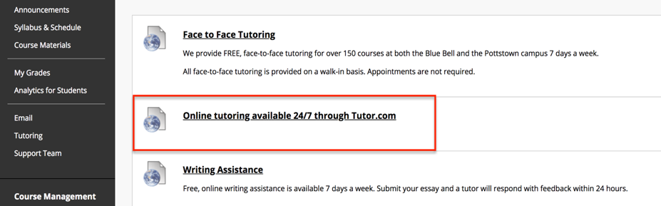 This is an image of the Tutoring link options with the Online tutoring available 24/7 through Tutor.com link being called out by a red box around it