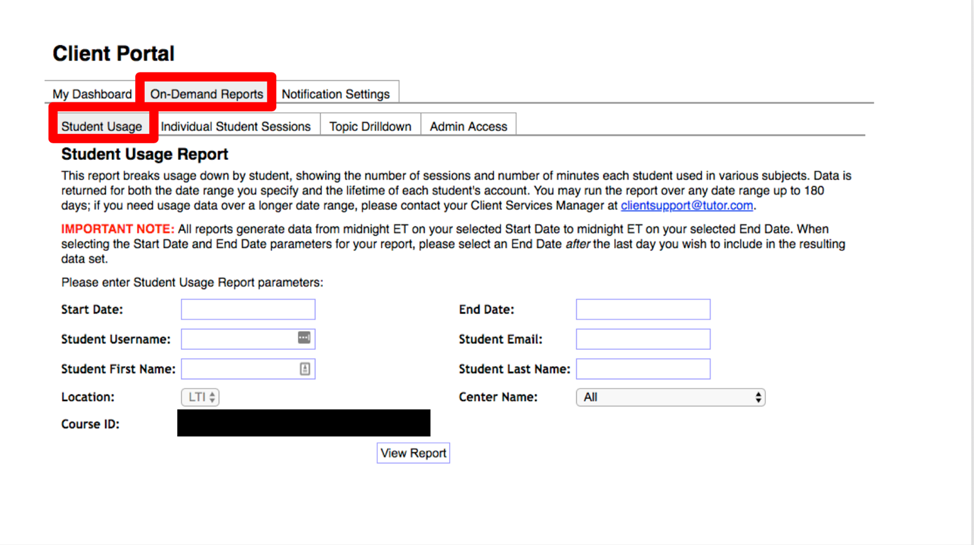 This is an image of the On-Demand Reports Student Usage tab. Both the tab for On-Demand Reports and the Student Usage tab are called out by a red box around it. The page asks you to enter your parameters around: start date, end date, student username, student email, student first name, and student last name.
