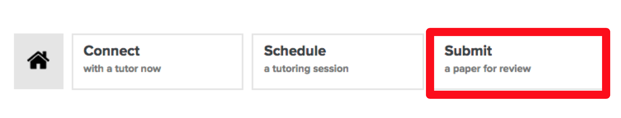 This is an image of the tutor.com options of Connect, Schedule, and Submit. The Submit option is called out with a red box around it.