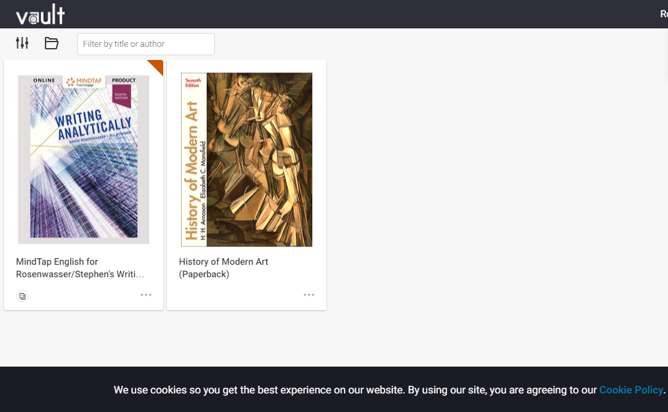 This is an image of the Vault homepage within Vital Source. In the center are any texts/courseware you have access to
