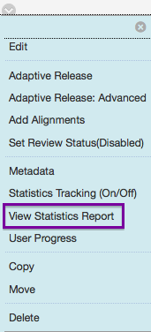 This is an image of the item menu. It shows options for edit, adaptive release, view statistics report, and delete.