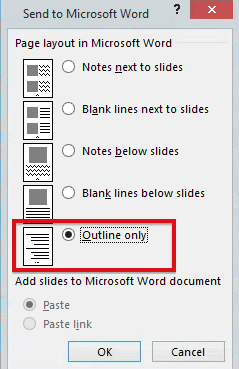 Image of options for creating handouts in PowerPoint. The option for Outline Only is highlighted with a red box.