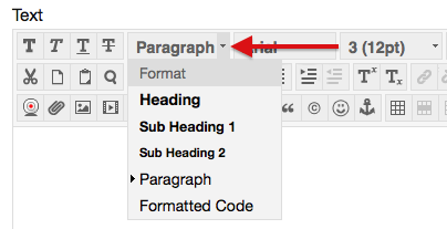 Image of heading selections in Blackboard under paragraph including heading, sub heading, paragraph, and formatted.