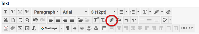 Image of the quick access toolbar in Blackboard. It shows the different formatting options for text, tables, images, and hyperlinks.