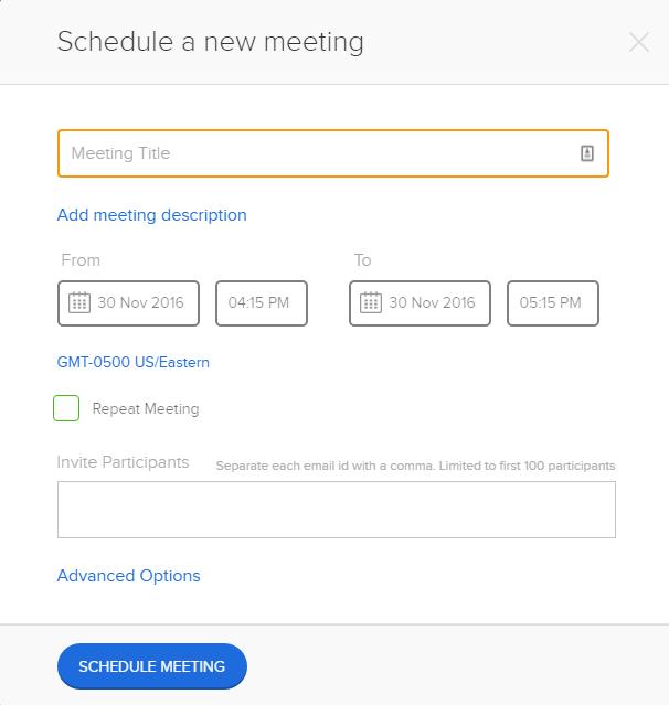 BlueJeans Schedule a Meeting window