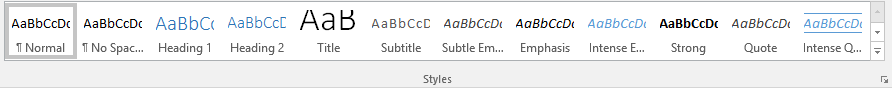 Word Styles toolbar