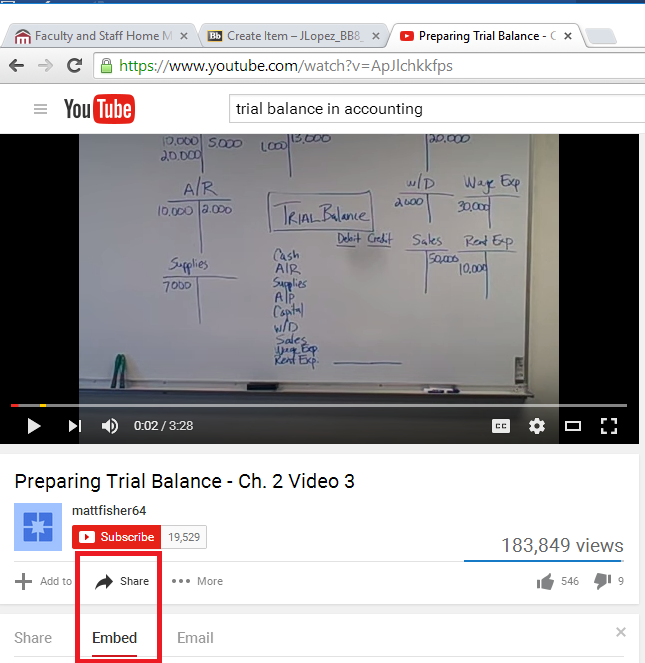 This image shows where to click on the Share then Embed option for a YouTube Video.