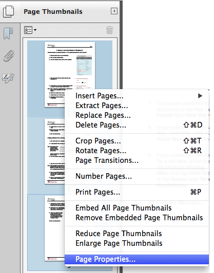 Image of page properties option from right clicking on page thumbnails.