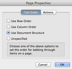 Image of the page properties options in a PDF. Options include use row order, use column order, use document structure, and unspecified.