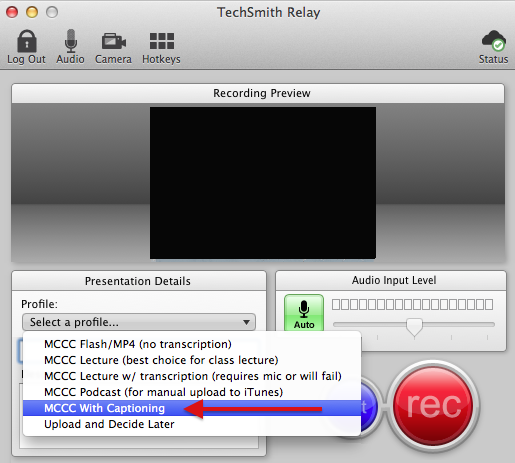 Image of Camtasia Relay dialog box where you can select a profile and record a video.