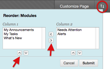 Image of option to reorder modules by clicking arrows to move them around the screen.