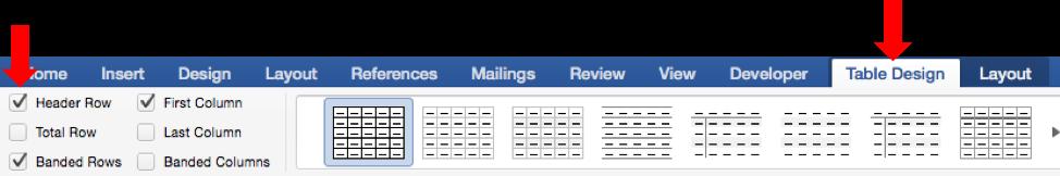Table Design tab