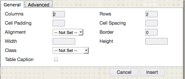 Image of the table options in Blackboard.