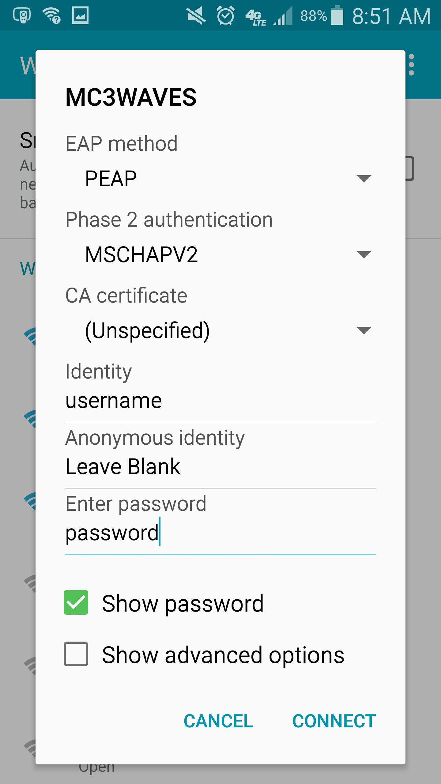 Connecting to MC3Secure Wireless Network (Wifi) - Android